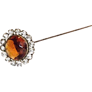 Great Amber Glass and Rhinestones Hat Pin