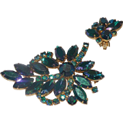 Wonderful Weiss Green Aurora Borealis Rhinestones Brooch & Earrings Set