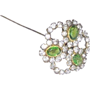 Fantastic Green & Clear Rhinestone Hat Pin