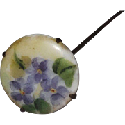 Sweet Violets On Porcelain Hat Pin