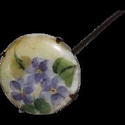Sweet Violets On Porcelain Hat Pin