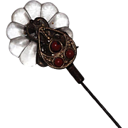 Victorian Glass Flower and Coral Beads Hatpin / Hat Pin