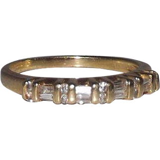 14 Kt Yellow Gold Diamond Baguettes and Rounds Band Size 8.5