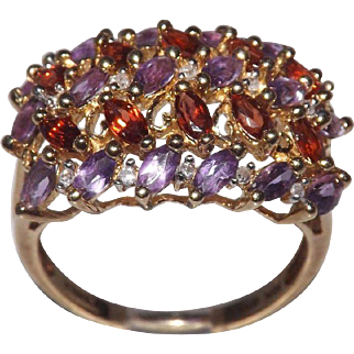 10 Kt Yellow Gold Amethyst And Garnet Ring With Diamond Accents
