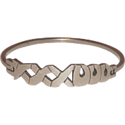 Heavy Hugs and Kisses (X's & O's)  Sterling Silver Taxco Mexico Bangle Bracelet