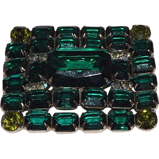 Stunning Emerald & Peridot Colored Rhinestone Brooch
