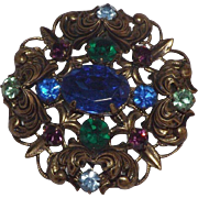 Stunning Gold and Colorful Rhinestones Brooch Circa 1940's