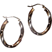 Gorgeous 10 Kt yellow and White Gold Hoop Earrings