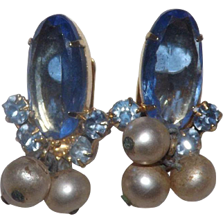 Gorgeous Blue Oval With Simulated Pearl Dangles Juliana Earrings