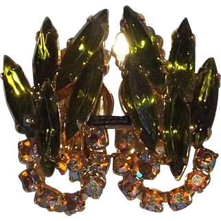Wonderful Juliana Green and Aurora Borealis Clip On Earrings
