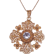 18 Kt Yellow Gold Amethyst Maltese Cross Pendant with 14 Kt Yellow Gold Chain - Red Tag Sale Item