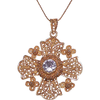18 Kt Yellow Gold Amethyst Maltese Cross Pendant with 14 Kt Yellow Gold Chain