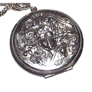 Whiting & Davis Silver Tone Art Nouveau Style Locket Necklace