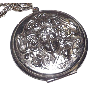 Whiting & Davis Silver Tone Art Nouveau Style Locket Necklace