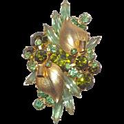 D & E Juliana Leaf Over / Palm Leaf Green Rhinestones Brooch