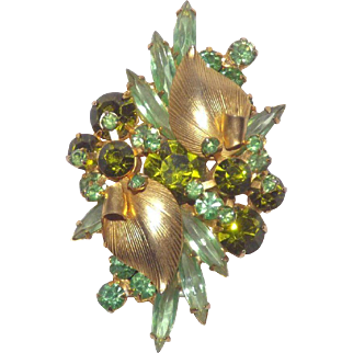 D & E Juliana Leaf Over / Palm Leaf Green Rhinestones Brooch