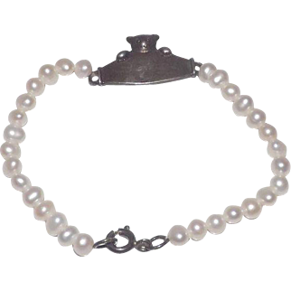 Child's Cultured Pearls & Sterling Silver ID Bracelet