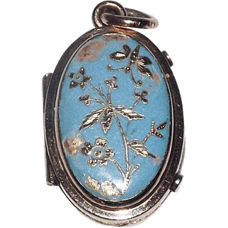 Wonderful Blue Enameled Pendant Locket With I Love You Sentiment Inside & Place For Picture