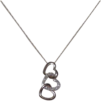 "10 Kt Yellow, White, & Rose Gold With Diamonds Triple Heart Pendant on Chain - ""Floating"" Hearts"