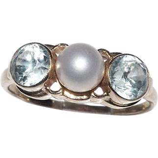 14 Kt Yellow Gold Cultured Pearl & Blue Topaz Ring Size 6.75