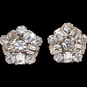 "Sparkling Weiss Rhinestone clip On Earrings 1"" Diameter"