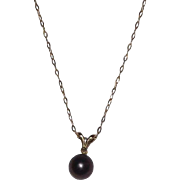 14 Kt Gold Black Cultured Pearl and Diamond Pendant with Chain