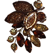 Judy lee Fall Colors Foiled Carved  Glass Brooch