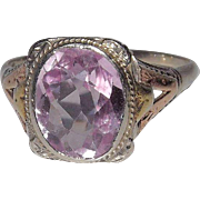 14 Kt White and Rose Gold Pink Tourmaline Ring