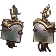 Amazing Dragon And Mother Of Pearl Clip On Earrings