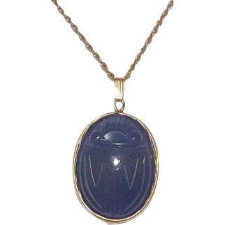 Large Admark Blue Onyx & Gold Filled Scarab Pendant On Chain ~