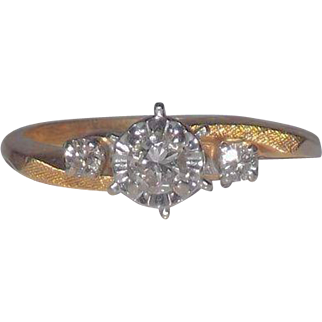 14 Kt Yellow Gold Diamond  Engagement ~ Wedding ~ Promise Ring