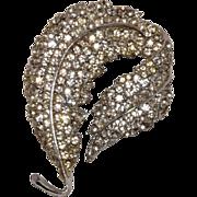 Sparkling Vintage Rhodium Plated Pave Set Rhinestones Leaf Brooch