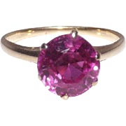 14 Kt Yellow Gold & Pink Spinel Ring Size 8 1/2