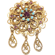 Lovely Simulated Turquoise and Amethyst Brooch with Dangles
