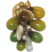 Wonderful Rare Vendome Glass Grapes & Faux Pearls Dangling Brooch