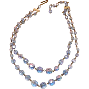 Beautiful W. German Blue Aurora Borealis Double Strand Necklace