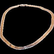 """Vintage Sterling Silver Herringbone necklace 1/4""""wide"""