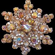 Gorgeous D&E Juliana Aurora Borealis Snowflake Brooch