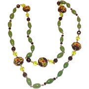 Great Green Glass & Black Beads With Red & Green Glass Rhinestones Necklace
