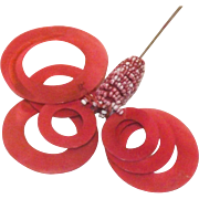 Fun &Interesting Red & White Beaded &  Moving Circles Hat Pin