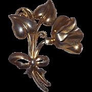 Pretty Sterling Silver Gold Wash Flower Brooch