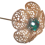 Interesting Copper with Green Rhinestone Filigree Hat Pin