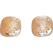 Great Rose Gold Filled Cufflinks With Cut Out & Etched Design