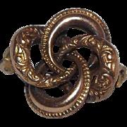 Delightful Victorian Sterling Silver & Heavy gold Overlay Love Knot Brooch