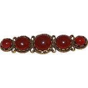 Lovely Carnelian Colored Glass 5 Stone Bar Pin / Brooch