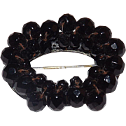 "Black Mourning Brooch - Layered beads Circa 1920""s"