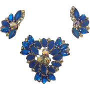 Amazing Vibrant Blue Glass & Aurora Borealis Rhinestone Brooch & Earrings Set