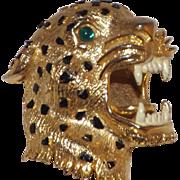 Gorgeous Open Mouth Leopard Brooch Enamel Spots and Rhinestone Eyes