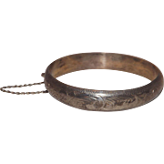 Lovely Sterling Silver Etched Bangle Bracelet with Safety Chain