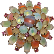 Amazing Bi Color Layered Brooch - Peach _Green - Pink- Blue